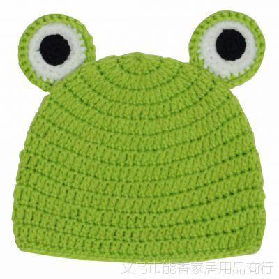 手工编织青蛙单帽儿童摄影婴儿宝宝毛线青蛙帽婴儿帽子手工青蛙帽