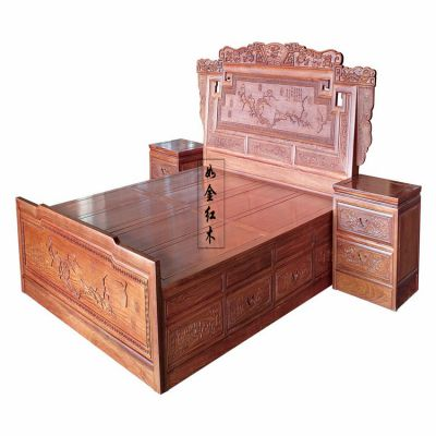 东阳红木家具 非洲花梨/缅甸花梨双人实木床 步步高花鸟大床檀雕床