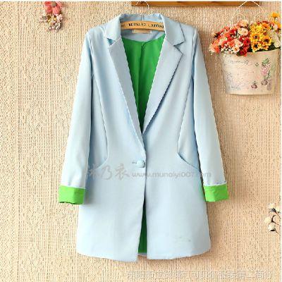 2014秋新款女装韩版撞色拼接西装领长袖修身西装外套