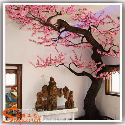 人造树厂家生产仿真树 桃花树 新年婚庆装饰绢花假桃树仿真花