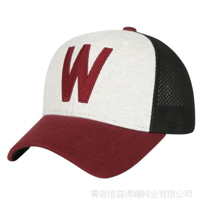青岛帽子厂家新款五片贴布绣花 环保网网帽 女士大沿帽 翻边帽