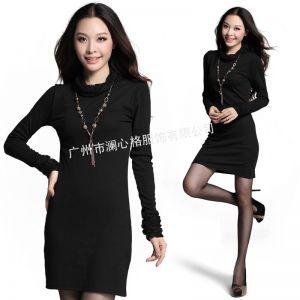 供应2012秋冬新款 韩范纯色蕾丝拼接长袖修身高领连衣裙9926