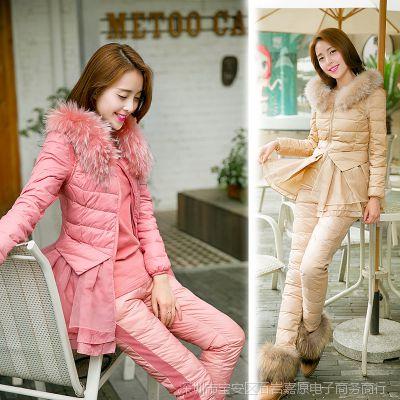 冬装羽绒服女新款 小香风貉子毛领羽绒套装棉衣女修身三件套羽绒