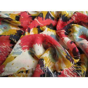 供应上海艺舒数码印花提供仿真丝雪纺印花布1米起印花打样