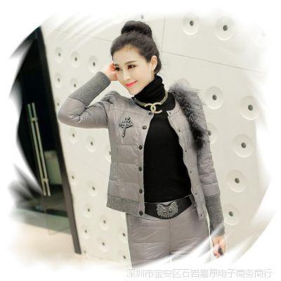 冬季装羽绒服女 欧洲站韩版新款羽绒服套装女套装二件套女款修身