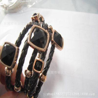 厂家直销不锈钢皮绳手镯  PU编织绳  钛钢真皮手镯  女款手链批发