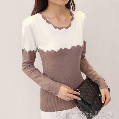 2014秋冬新款韩版拼色低圆领修身型长袖套头修身百搭针织打底衫女