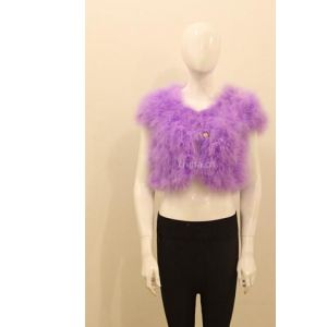 供应厂家直销批发定做火鸡毛女士皮草短款服装