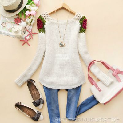 韩版2014新款秋装女装圆领波浪边收腰显瘦针织衫