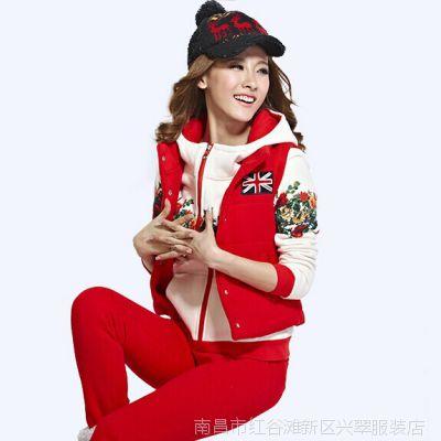2014新款套装韩版卫衣三件套女秋冬加厚加绒休闲大码女装运动套装