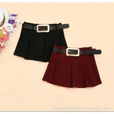 韩版2014新款秋装女装中腰A字裙百褶短裙半身裙
