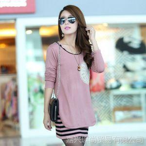 供应2013新款女装 秋冬韩版修身长袖圆领两件套套头连衣裙 现货批发
