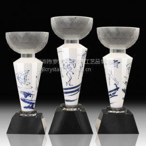 供应步步高升奖杯,琉璃玉石奖杯,高尔夫球玉石奖杯