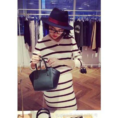 2014秋季新款Mila Owen V横领条纹针织上衣+短裙套装 一件代发