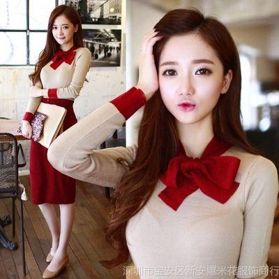 供应秋套装韩国修身针织连衣裙紧身秋冬包臀S型打底裙