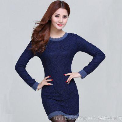 东大门2014新款秋冬装韩版女式加绒加厚蕾丝连衣裙长袖修身包臀裙
