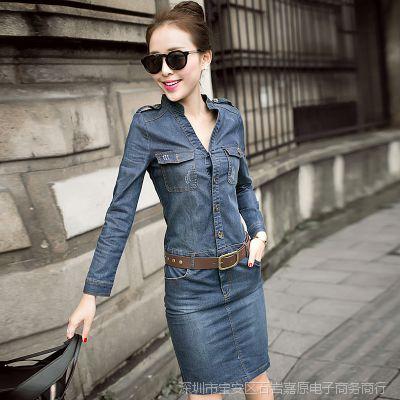 牛仔裙 拼接修身中长款秋冬韩版包臀长袖连衣裙子女装一步裙V领棉
