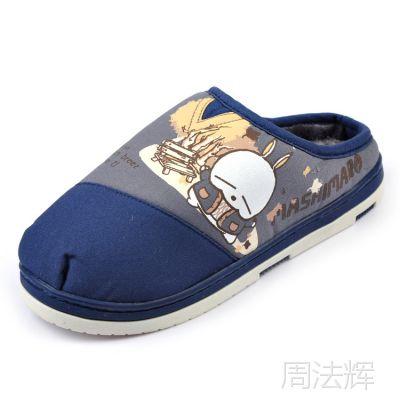 流氓兔*** 冬季新款男士棉拖鞋 浅包跟帆布时尚居家保暖拖鞋 175