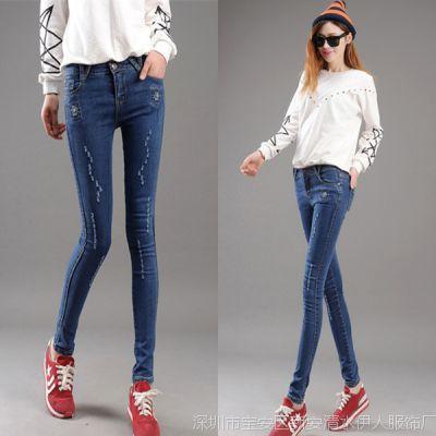 牛仔裤女长裤子潮韩版女式士修身显瘦小脚铅笔裤翻边女装