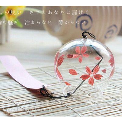 供应玻璃工艺风铃 日本风铃批发 贴花风铃 80mm