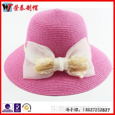 夏天蝴蝶结圆顶遮阳帽 大檐女士草帽批发韩版沙滩帽大沿帽