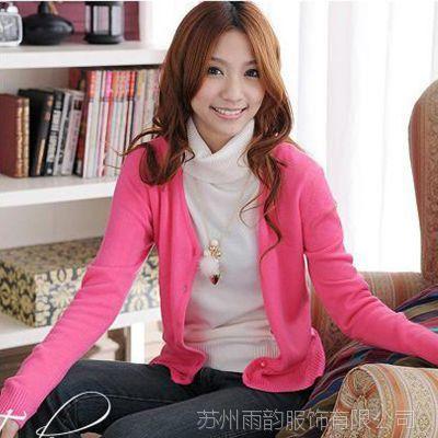 2014秋装新款女装韩版仿羊绒百搭小开衫显瘦打底针织开衫毛衣外套