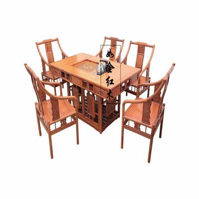 明清古典红木茶桌 非洲花梨猪笼茶台 缅甸花梨木明式两用家具茶桌