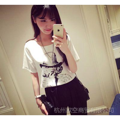 A【哚啦】2559夏装新款2015欧美风尚百搭印花雪纺衫短袖上衣女