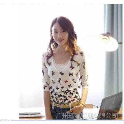 供应2014新款韩版百搭款蝴蝶印花修身针织开衫小外套 空调衫
