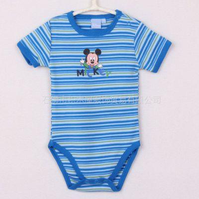 供应外贸原单迪斯尼经典卡通全棉色织彩条男宝宝短袖连体三角哈衣 H56