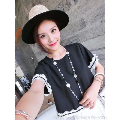 小银子2015夏装新款韩国范简约立体边装饰短袖雪纺衫女上衣X5304
