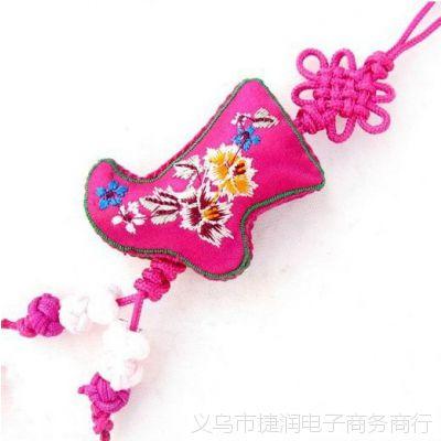 绣花靴子香包 批发 刺绣香包批发 中国结挂件 端午节香包挂件