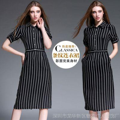 2015秋季新款女装欧美大牌翻领时尚修身显瘦收腰条纹连衣裙