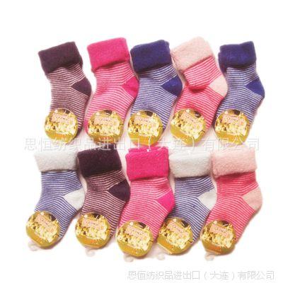 无骨缝合山羊绒毛巾袜日本原单 中小男女童散口 秋冬高档童袜批发