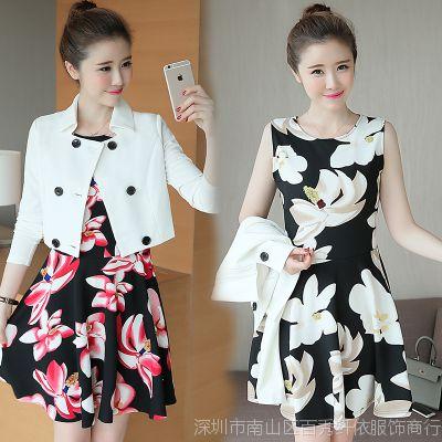 实拍2016秋季新品大码女装 韩版修身气质印花中长款两件套连衣裙