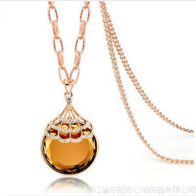 韩版毛衣链 镶嵌水晶 复古百搭饰品 女士热卖款