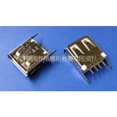 供应全包USB-直插母座(DIP-180度-直立式L=15.0弯/直脚卷边)