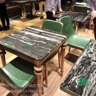 奶茶店大理石餐桌 4人位大理石餐桌 茶餐厅石英石餐桌 工厂价