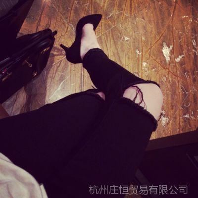 【YESWOMEN】小宜定制 春装女装新款 破洞牛仔裤 显瘦铅笔裤