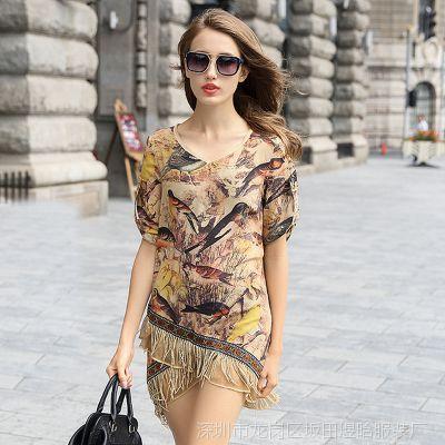 欧美大牌真丝连衣裙2015欧洲站夏季新款女装不规则流苏大码连衣裙