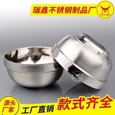 斗牛士不锈钢双层隔热铂金碗 快餐店商用日用白金碗 可加印logo