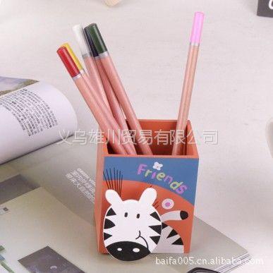 供应义乌小商品动物木制笔筒(棕底斑马)