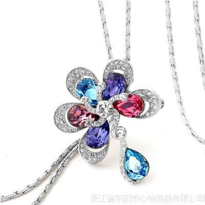 奥地利水晶项链 装饰项链女长款韩版挂饰品百搭 糖果色甜心