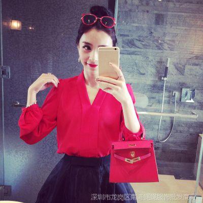 小银子2015春装新款韩版V领宽松长袖雪纺衫女上衣X3321