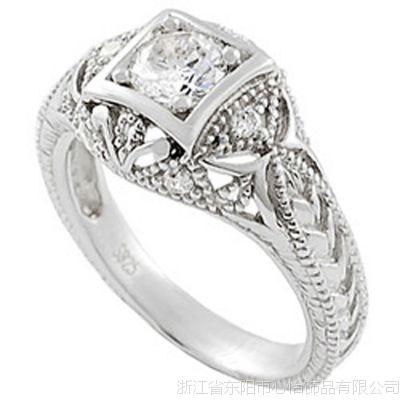 精品收藏 纯银复古 新娘 925银锆石戒指 生产厂家