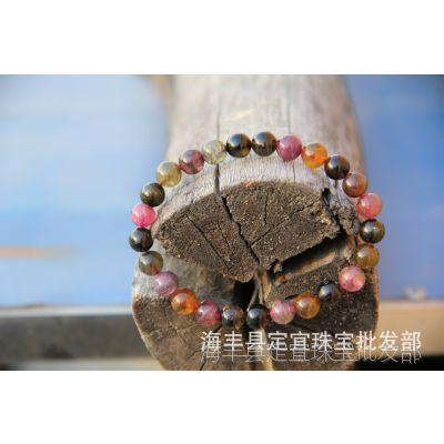 天然巴西碧玺手链 电气石首饰 五级品 4-8MM 多彩鲜艳 女士之石