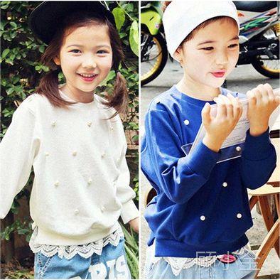 外贸童装 2015春季新款童卫衣 订珠蕾丝长袖打底衫 女童T恤批发
