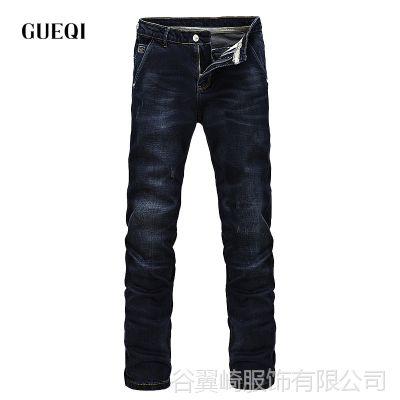 GUEQI 简约男式牛仔裤批发 春款水洗刷白男士直筒裤供应代理加盟