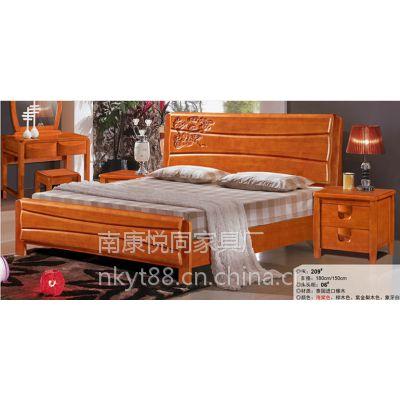 全实木床 纯实木双人床中式床 1.8米储物高箱床 品牌床橡木床婚