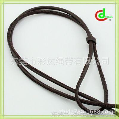 专业生产  3.5MM粗黑色车缝皮绳  diy包芯手链圆皮绳   真细皮革